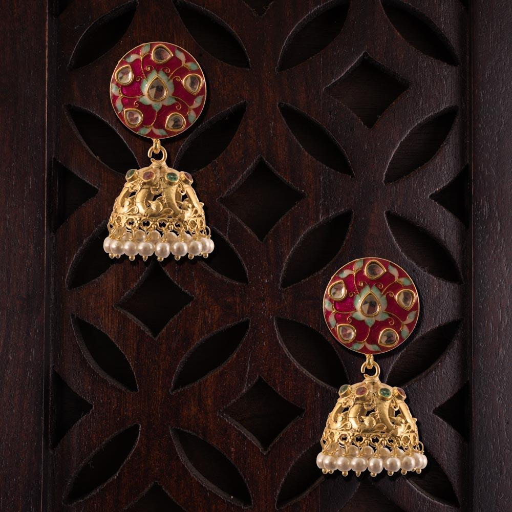 Bright gold and red jhumkas