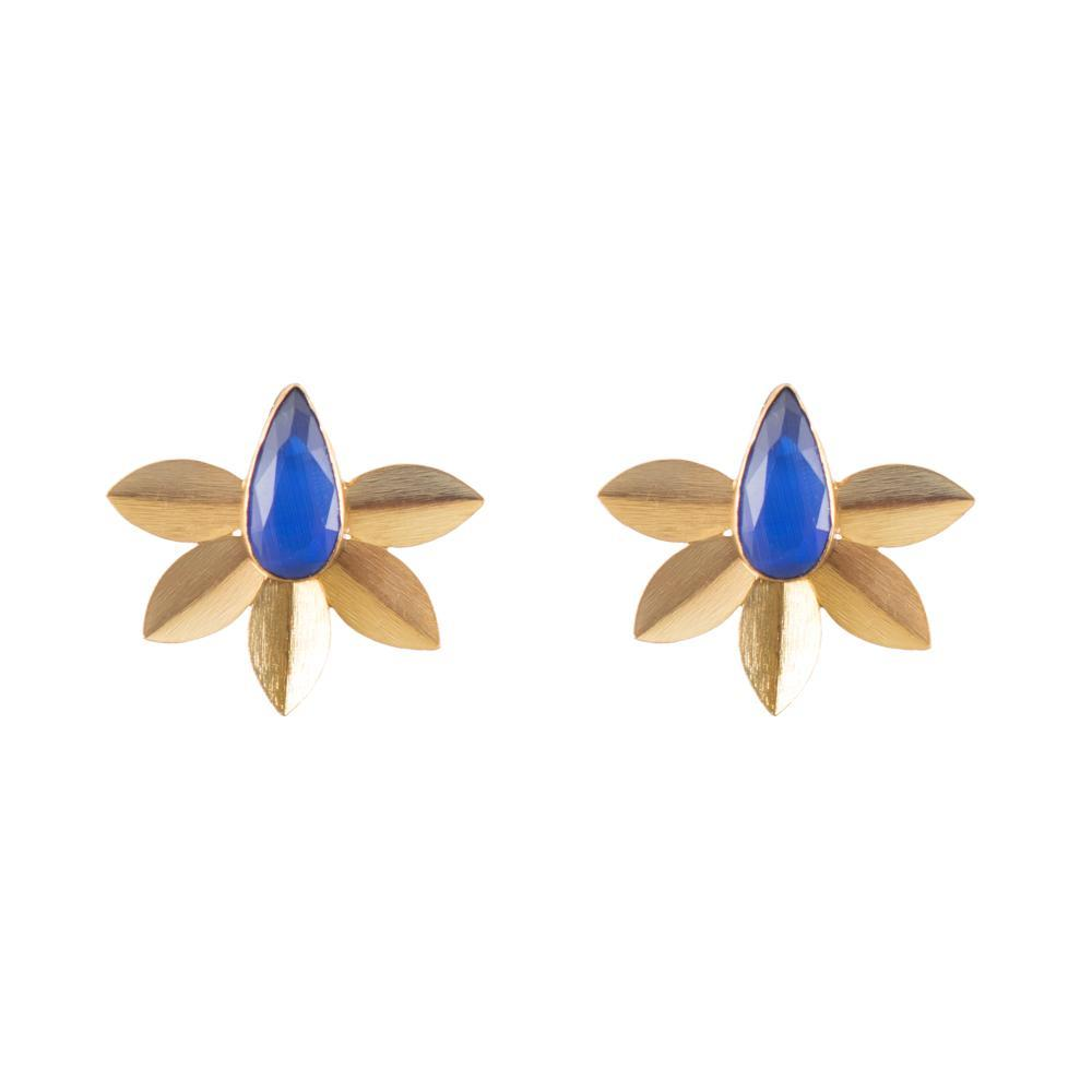 Bright blue petal earrings