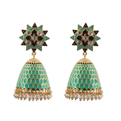 Conical mint green jhumkas
