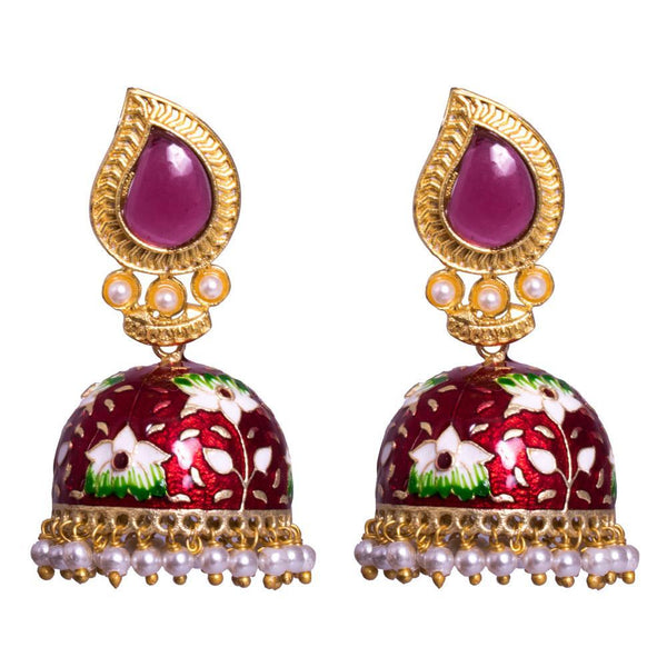 wine red meenakari jhumkas for Rs.Rs. 800.00 | Jewellery by Prashanti Sarees