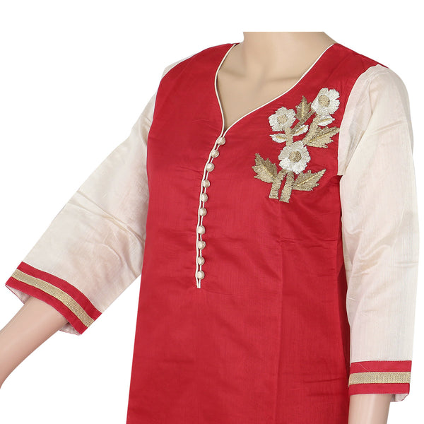 Chanderi Kurta Red and Beige with floral embroidery