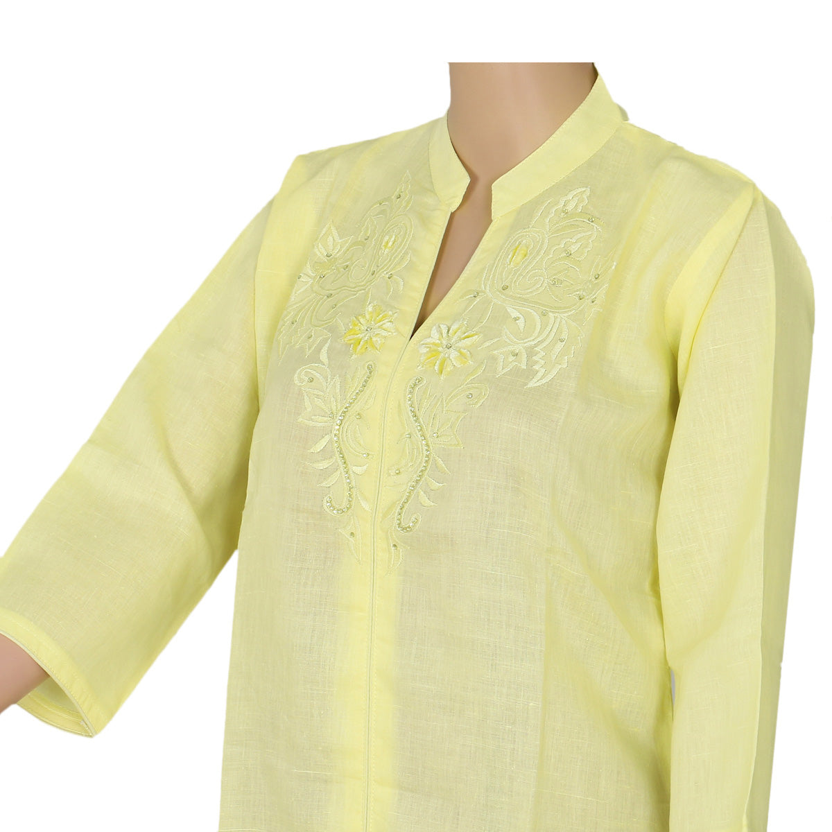 Blended Cotton kurta Light yellow with embroidery design