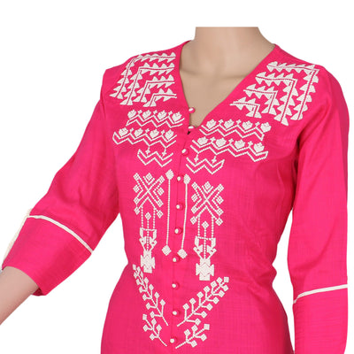 Blended Soft Cotton Kurta Pink and Off white with embroidery