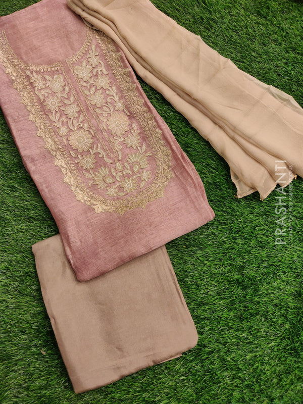 Silk linen dress material pastal brown with hand embroided and chiffon dupatta