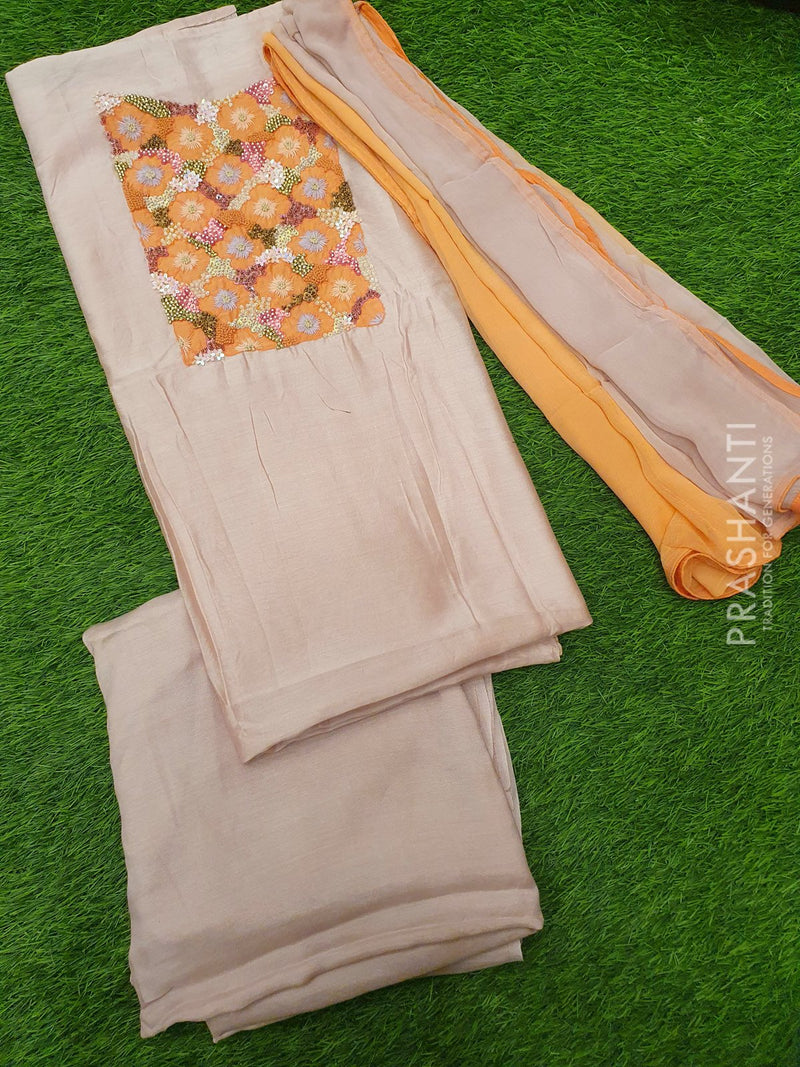 Chanderi dress material baby pink with hand embroided neck and chiffon dupatta