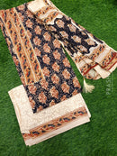 Jaipur Cotton dress material black and beige with floral prints and gota patti work