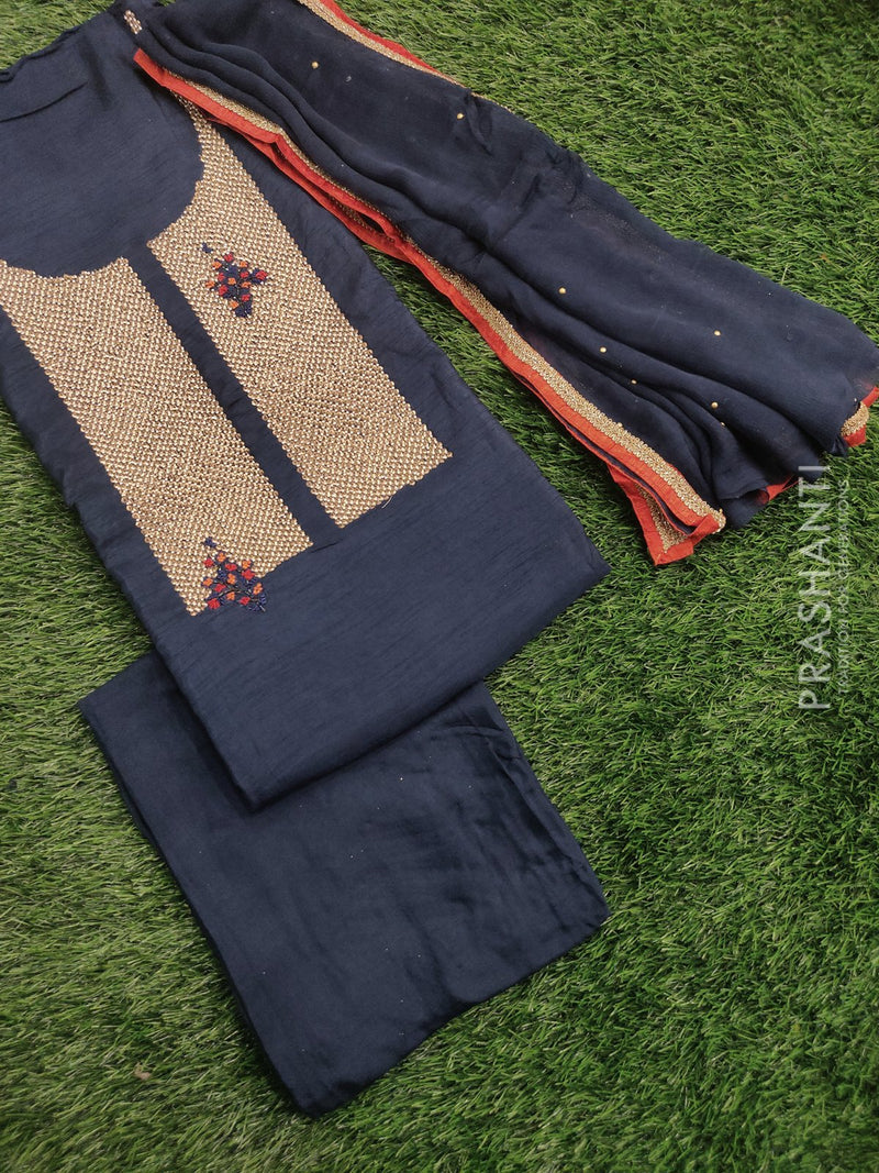 Raw silk dress material navy blue with hand embroided and chiffon embroided dupatta