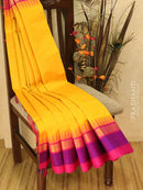 Kuppadam Silk Cotton Saree yellow and pink with simple zari woven temple border