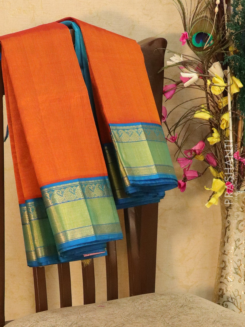 Kuppadam Silk Cotton Saree orange and blue with rich zari woven border