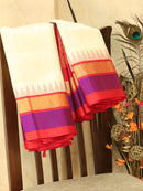 Kuppadam Silk Cotton Saree off white and red with simple zari woven temple border