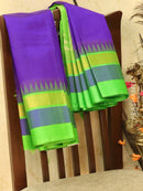 Kuppadam Silk Cotton Saree violet and green with simple zari woven temple border