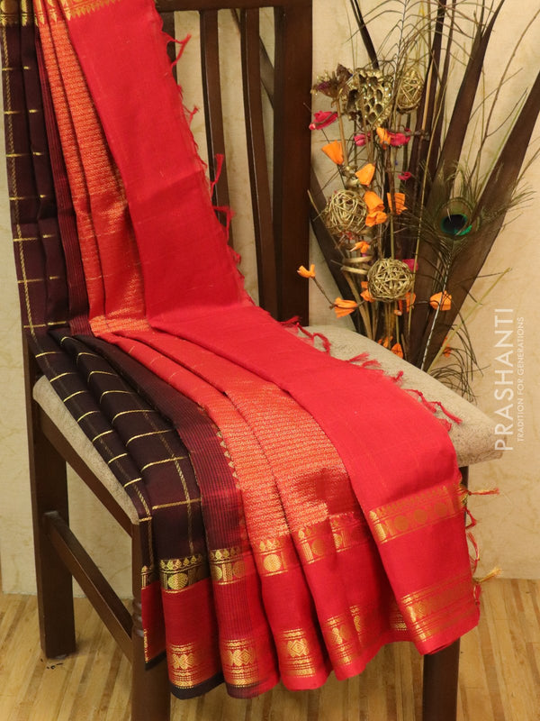 Silk Cotton partly Saree coffee brown and red with zari checks and rettapet border