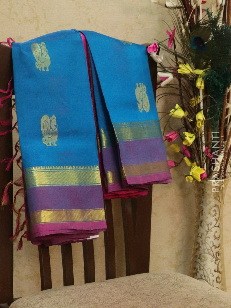 Silk Cotton Saree blue and pink with thread and zari woven buttas and zari woven rettapet border