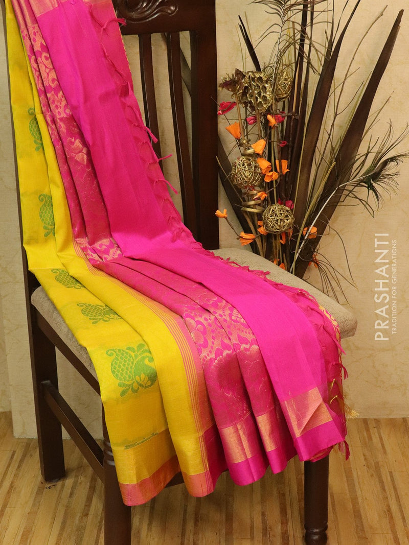 Silk Cotton Saree yellow and pink with thread woven pailey buttas and simple zari border