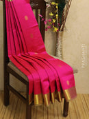Silk Cotton Saree pink and green with zari woven buttas and zari woven border