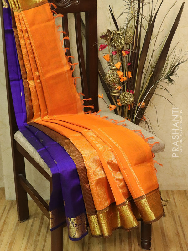 Silk Cotton partly Saree violet and orange with small zari buttas and border