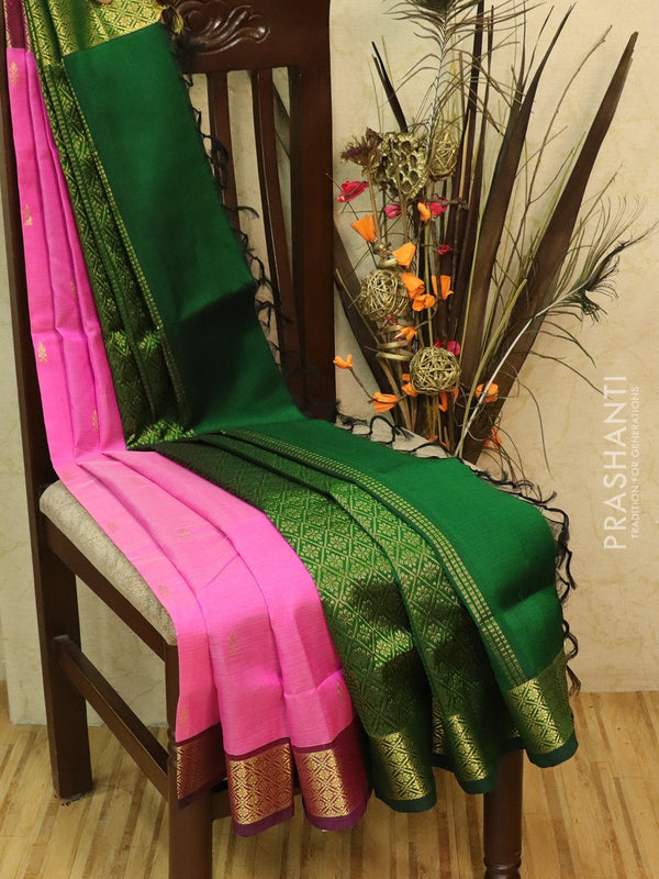 Silk Cotton partly Saree pink and green with small zari buttas and border