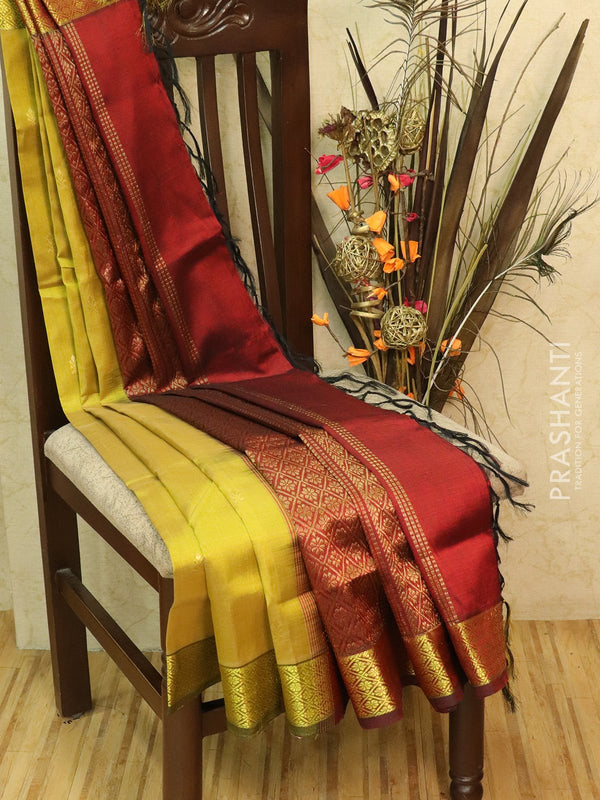 Silk Cotton partly Saree golden yellow and maroon with small zari buttas and border
