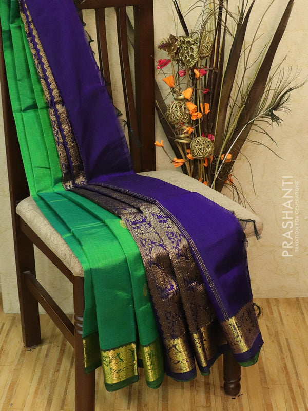 Silk Cotton partly Saree green and blue with small zari buttas and border