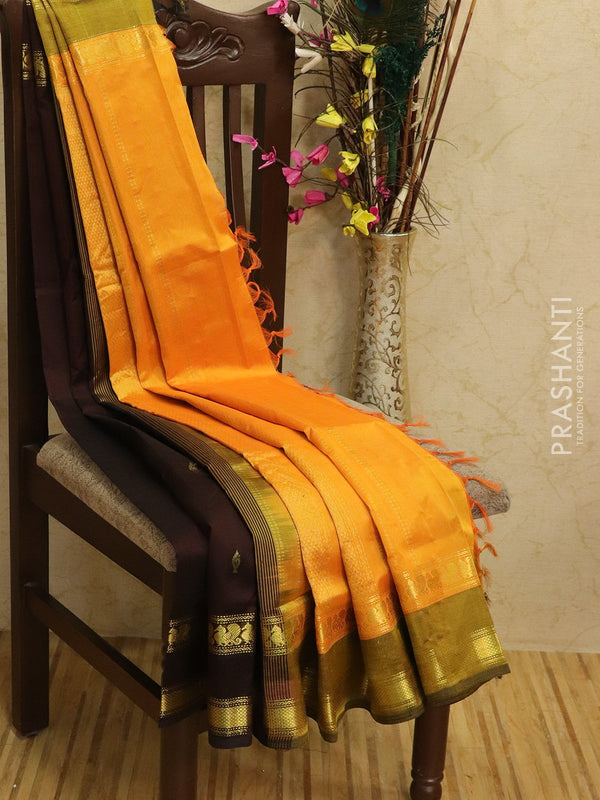 Silk Cotton partly Saree coffee brown and mustard with zari woven buttas and rettapet border