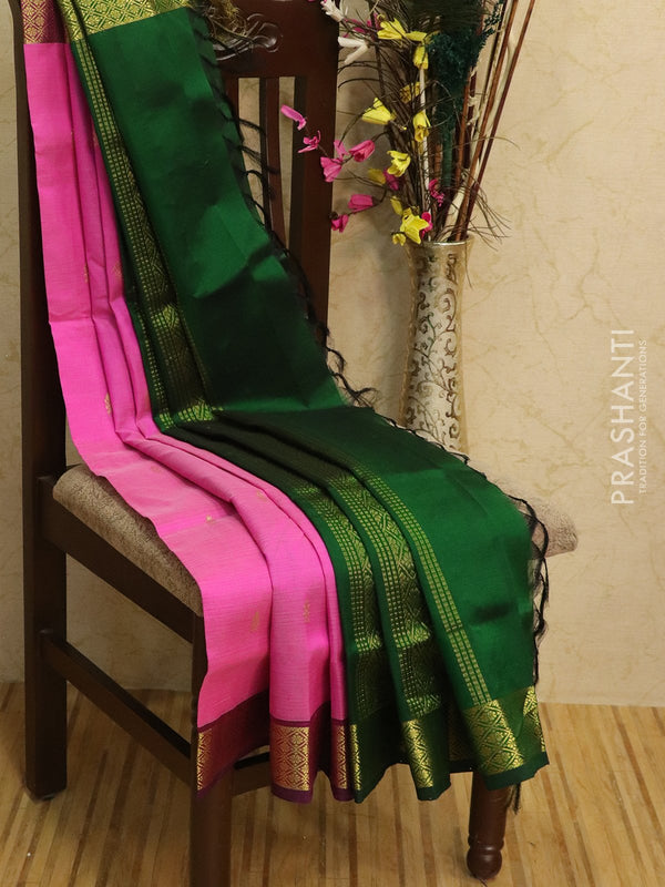 Silk Cotton partly Saree pink and green with zari woven buttas and border