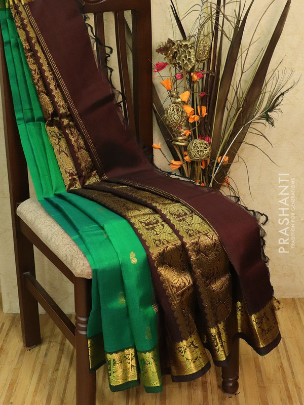 Silk Cotton partly Saree green and coffee brown with zari woven buttas and rich zari woven border