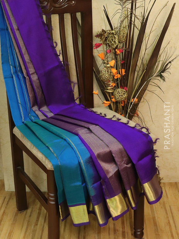 Silk Cotton partly Saree blue and violet with thread and zari woven lines and rich zari woven border