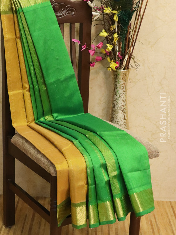 Silk Cotton partly Saree golden beige and green with zari woven lines and rich zari woven border
