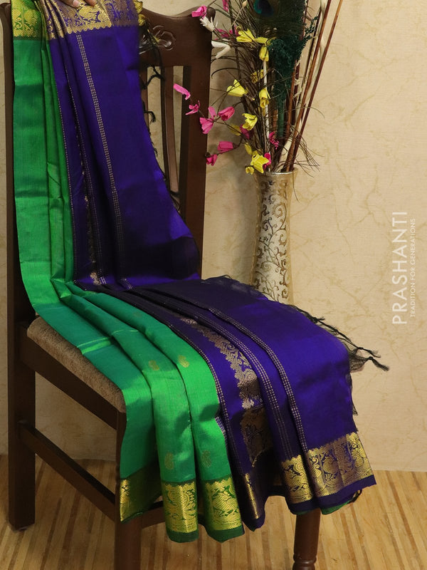 Silk Cotton partly Saree green and blue with zari woven buttas and rich zari woven border