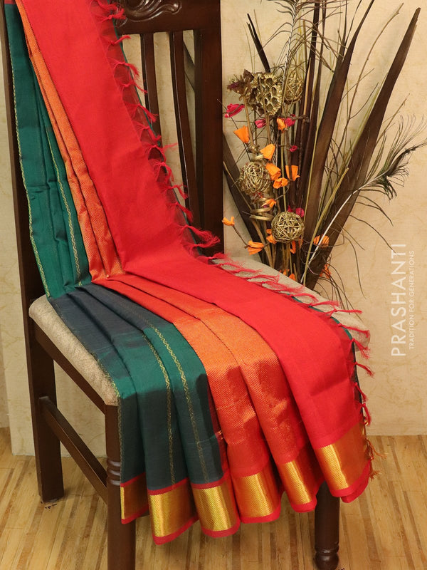 Silk Cotton partly Saree peacock green and red with thread and zari woven lines and rich zari woven border