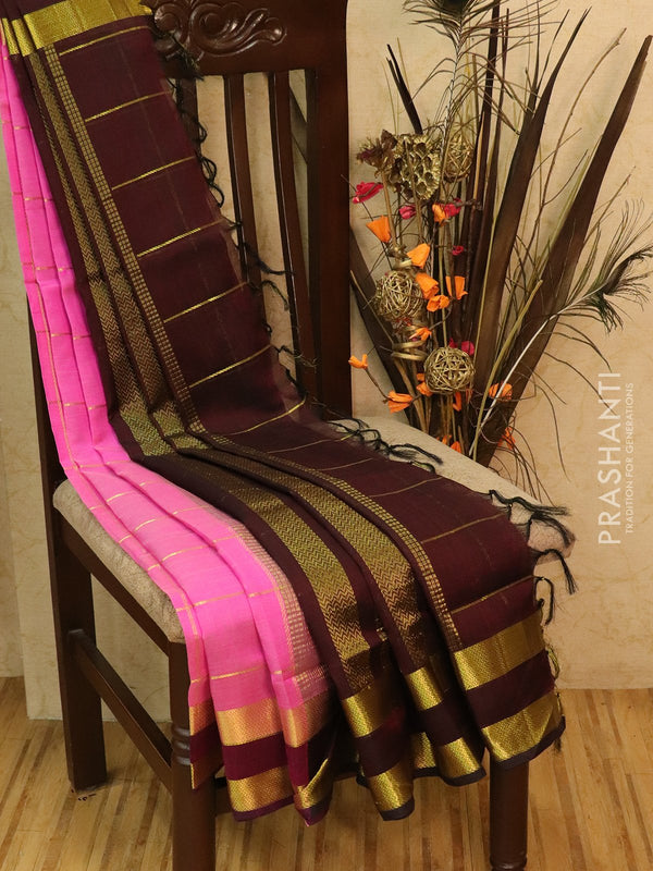 Silk Cotton partly Saree pink and coffee brown with zari checks and rettapet zari woven border