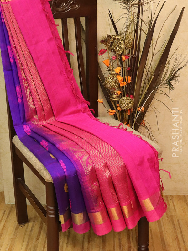 Silk Cotton partly Saree violet and pink with thread woven buttas and simple zari border