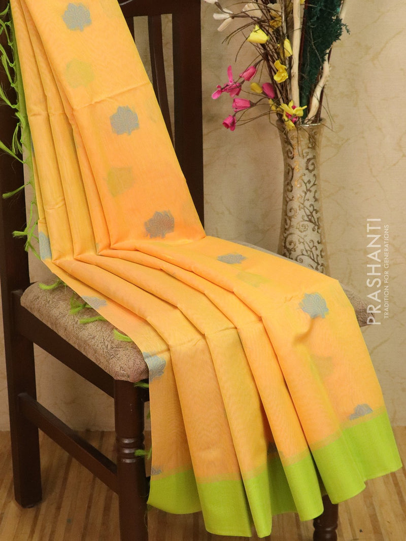 Kora silk cotton saree dual shade of yellow and green with woven buttas and rich pallu