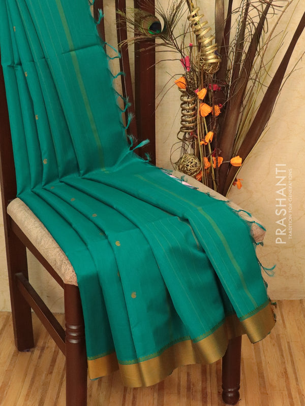 Kora silk cotton saree green and mustard with body buttas and simple border