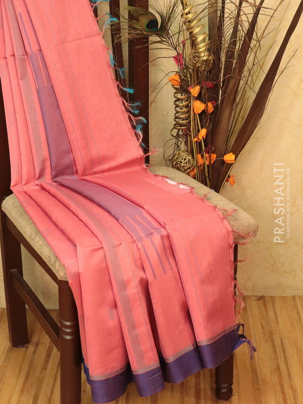 Kora silk cotton saree pink and violet with body buttas and simple border