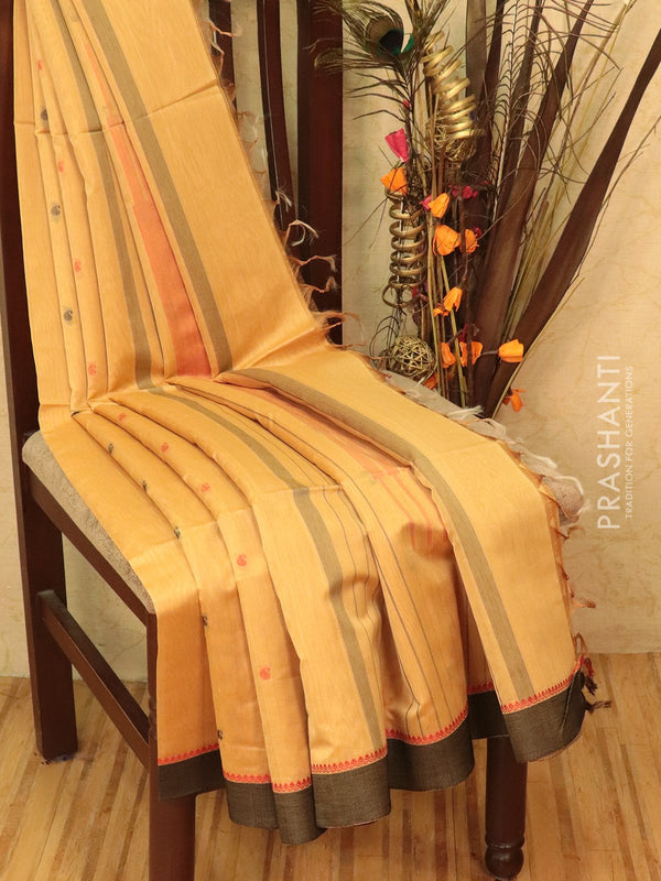 Kora silk cotton saree beige and black with body buttas and simple border
