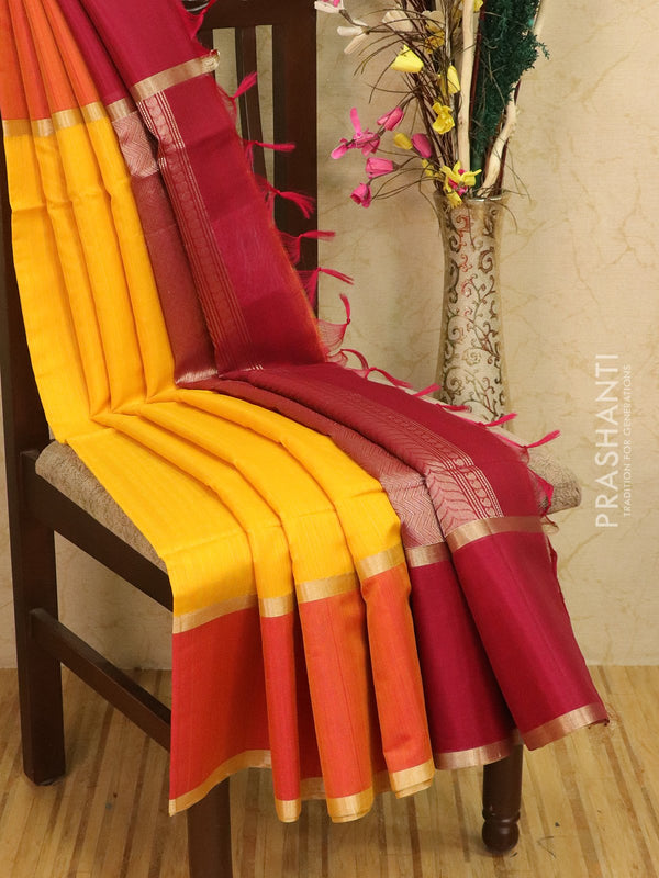 Kora silk cotton saree yellow and pink with plain body and simple border