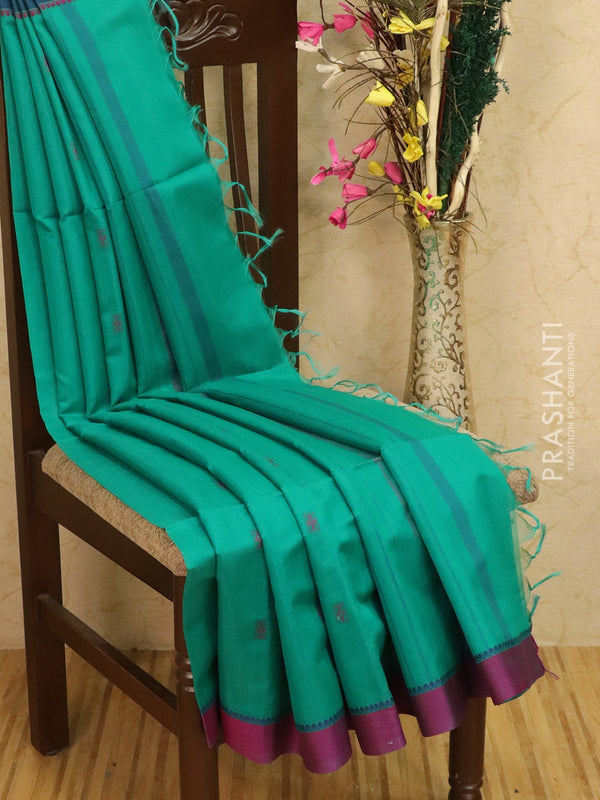 Kora silk cotton saree peacock green and purple with body buttas and simple border