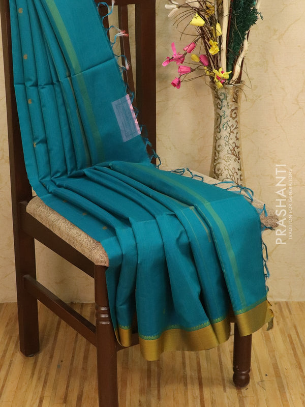 Kora silk cotton saree blue and mustard with body buttas and simple border