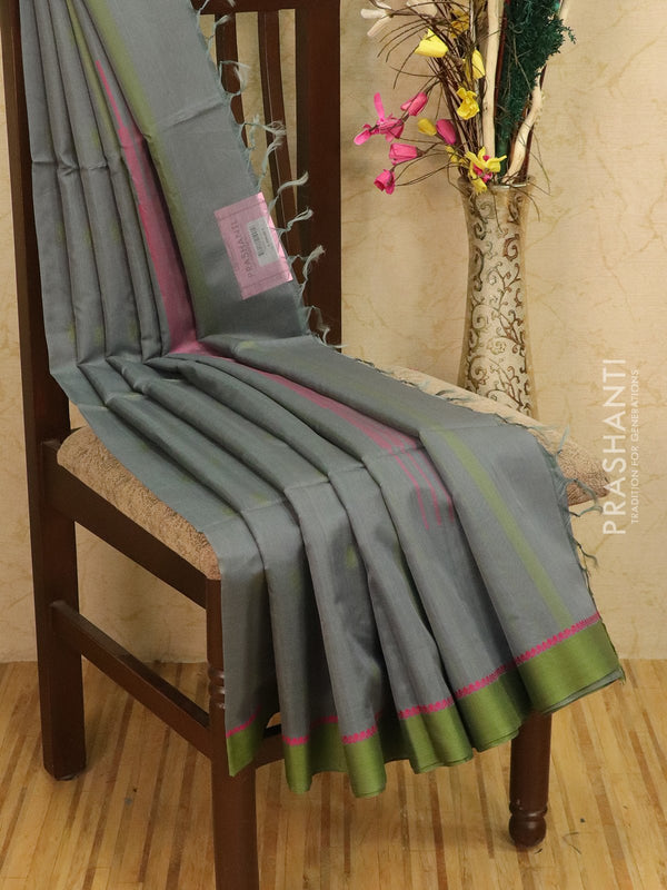 Kora silk cotton saree grey and pink with body buttas and simple border