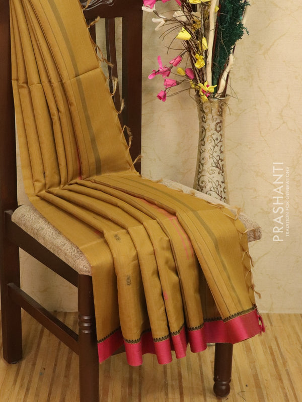 Kora silk cotton saree beige and pink with body buttas and simple border