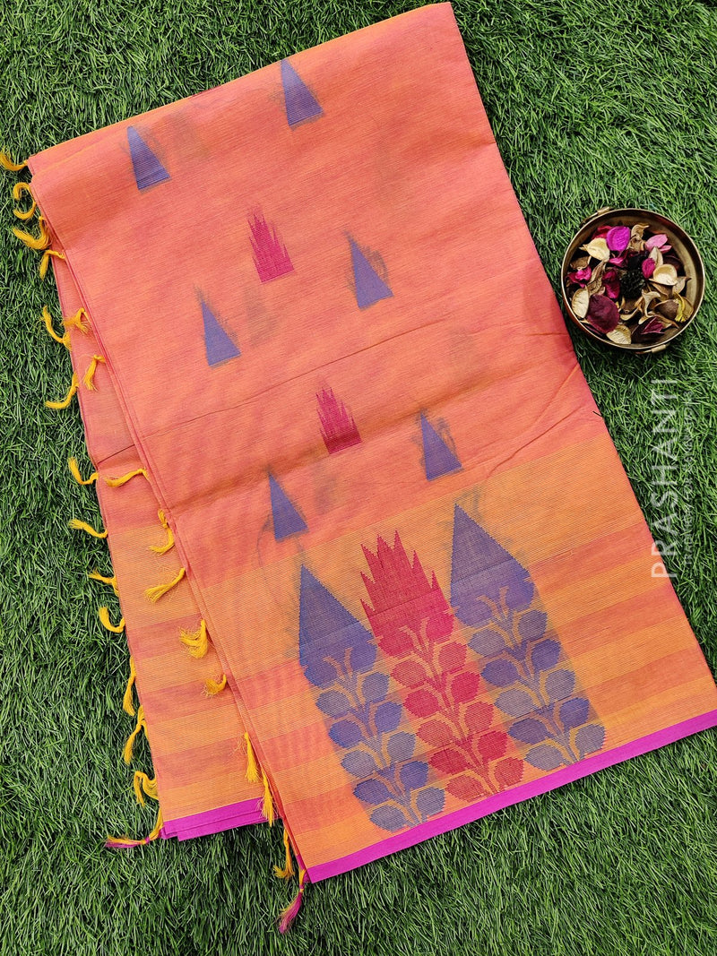 Handloom Cotton Saree dual shade of orange and pink with thread woven buttas and piping border