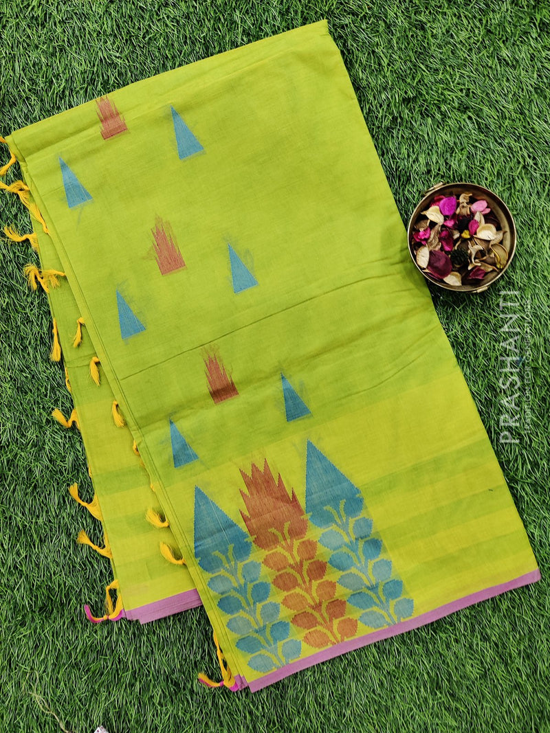 Handloom Cotton Saree yellowish green and purple with thread woven buttas and simple border