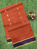 Handloom Cotton Saree brown and navy blue with body buttas and zari border