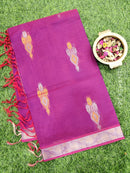 Handloom Cotton Saree purple and red with body buttas and zari border