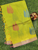Handloom Cotton Saree green and pink with thread woven buttas and zari border