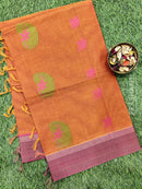 Handloom Cotton Saree rust and pink with thread woven buttas and zari border