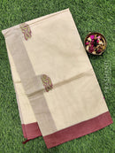 Handloom Cotton Saree beige and maroon with body buttas and simple border