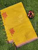 Handloom Cotton Saree lime yellow with body buttas and zari border