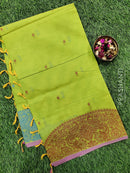 Handloom Cotton Saree lime green with body buttas and thread border